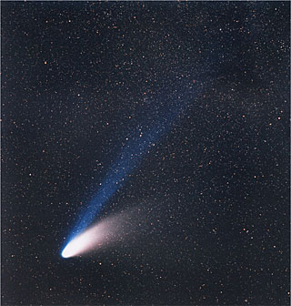 The tail of a comet points away from the Sun